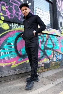 Black Multi Zip Muscle Fit Hooded Skinny Tracksuit