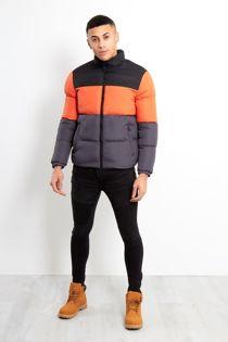 Black Orange And Charcoal Panel Puffer Jacket
