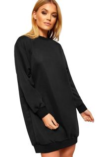 Black Oversized Pocket Sweat Dress