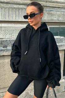 Black Oversized Ruched Sleeve Hoodie