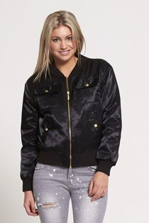 Black Pocket Front Satin Bomber Jacket