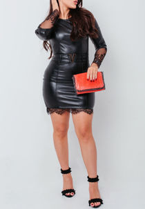 Black PU Lace Trim Bodycon Dress