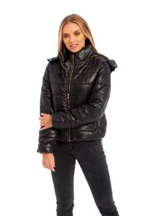 Black Puffer Fur Hood Jacket
