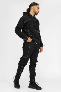 Black Reflective Piped Pullover Cargo Tracksuit