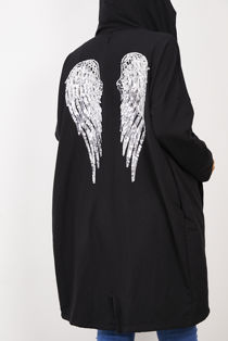 Black Sequin Angel Wing Hooded Cardigan