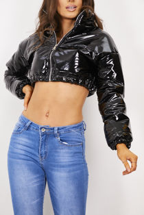 Black Shine Crop Funnel Bubble Jacket