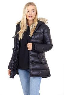 Black Shine Finish Faux Fur Detail Padded Jacket