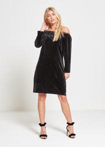 Black Sparkle Velvet Off Shoulder Mini Dress