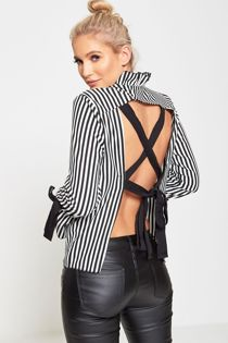 Black Striped Open Back Ribbon Tie Shirt