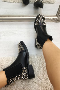 Black Studded Chelsea Ankle Boots