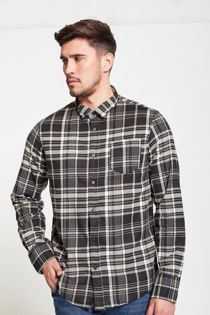 Black Tame Checked Button Up Shirt