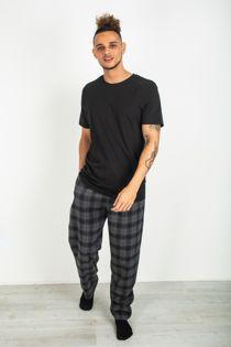 Black Tee and Checked Pyjama Set