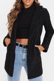 Black Textured Teddy Coat