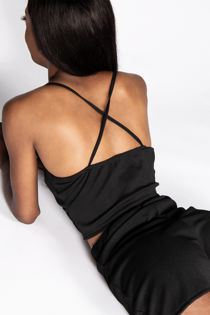 Black Triangle Cup Cross Back Cropped Top & Shorts Set