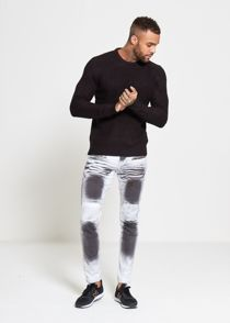 Black Waffle Knitted Jumper
