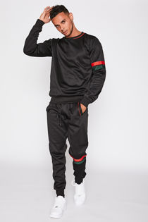 Black With Red & Green Striped Crew Neck Tracksuit
