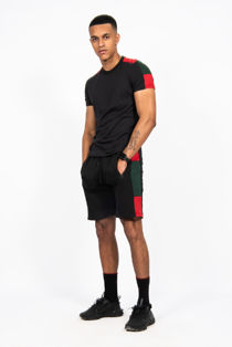 Black With Red And Green Side Stripe Short Set