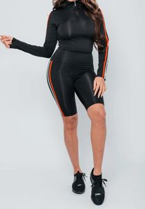 Black with Red and White Striped Cycling Short Set