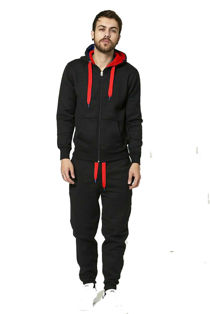 Black With Red Contrast Tracksuit