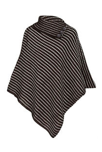 Black With White Dot Detail Cable Knit Poncho