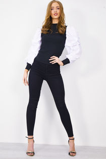 Black with White Pearl Puff Sleeve Top