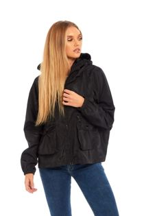 Black Zip Through Crop Cagoule Jacket