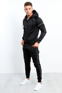 Black Zip Through Hooded Tracksuit Preorder
