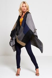 Blanket Stitch Tartan Wool Cape