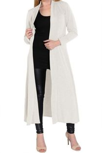 Block Cream Saima Long Cardigan