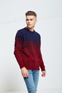 Blue and Wine Two-Tone Knitted Jumper
