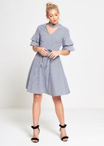 Blue Gingham Check Choker Neck Dress