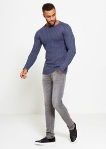 Blue Muscle Fit Fine Knit Jumper