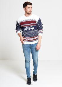 Blue Novelty Reindeer Christmas Jumper