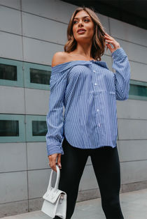 Blue Off Shoulder Striped Shirt