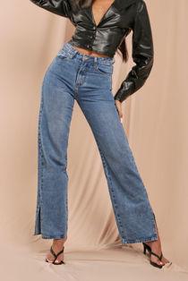Blue Split Side Straight Leg Jeans Size 10
