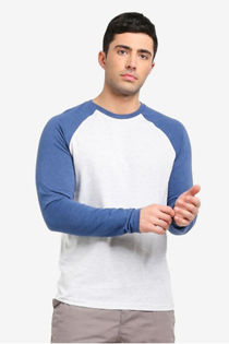 Blue Two-Tone Raglan Long Sleeve T-Shirt