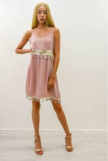 Blush Butterfly Embroidered Tassel Hem Dress