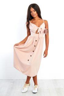 Bow Front Button Up Sun Dress