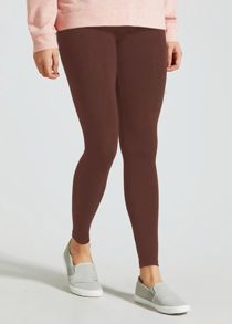 Brown Plain Stretchable Viscose Leggings