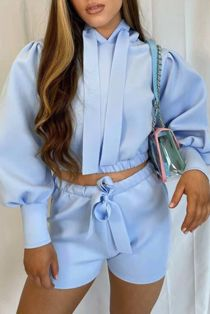 Baby Blue Hooded Ribbon Short Set
