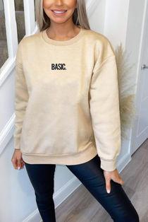 Plus Size Beige BASIC Sweatshirt