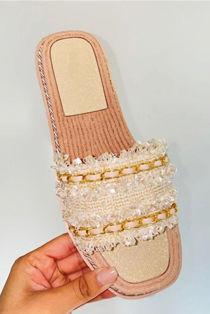 Beige Woven Gold Chain Raffia Slider Sandal