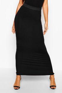 Black Basic Contrast Waist Jersey Maxi Skirt