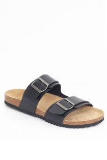 Black Buckle Strap Slip On Sandals