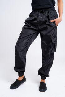 Black Cargo Style Trouser