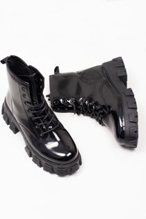 Black Cleated Patent Faux Leather Boots