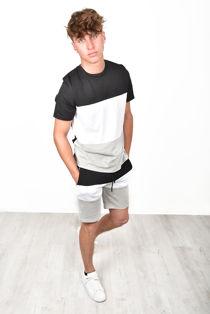 Black Colour Block T-Shirt & Short Set