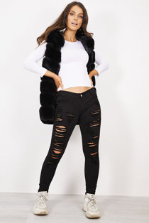 Black Extreme Ruched Ripped Jeans