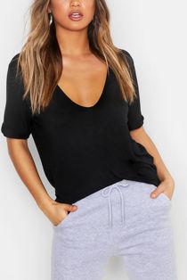 Black Extreme V Front Oversized T-Shirt