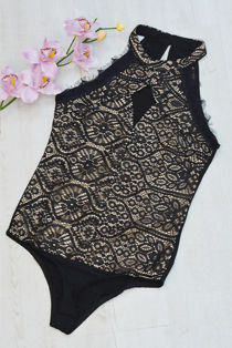 Black High Neck Eyelash Lace Bodysuit